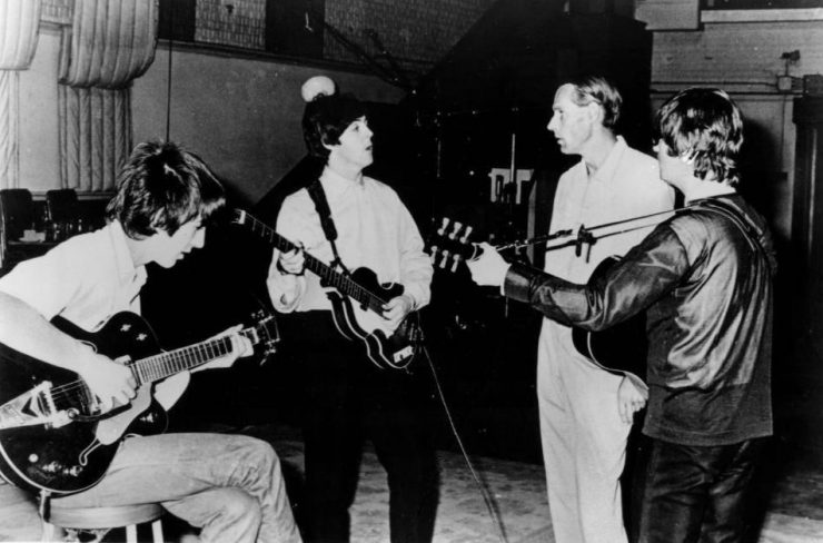 Beatles and George Martin in studio 1966